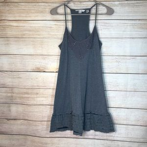 Derek Heart razor back ruffle gray dress Sz M